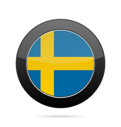 Flag of sweden shiny black round button vector