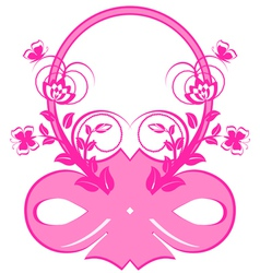 frame with pink ribbons and ornament vector image vector image