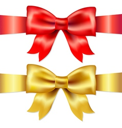 Red And Gold Gift Satin Bow vector image vector image