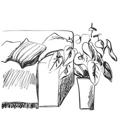 room interior sketch sofa and flowerpot vector image vector image