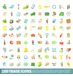 100 trade icons set cartoon style vector image