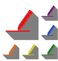 pencil sign set of red orange vector image