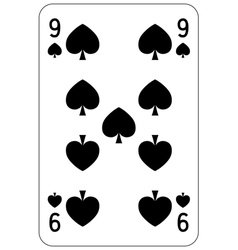 Poker playing card 9 spade vector image
