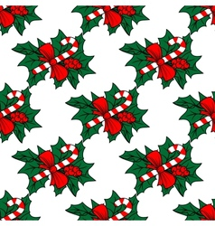 Christmas seamless pattern with candy sticks vector image vector image