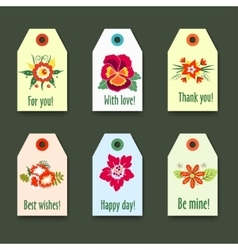 Flower tags with logo Set - Isolated On green vector image