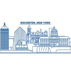 usa new york rochester winter city skyline vector image vector image