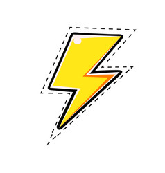 yellow electric lightning bolt comic vector image