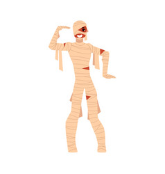 Young man wrapped in bandages spooky mummy vector