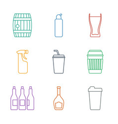 9 beer icons vector