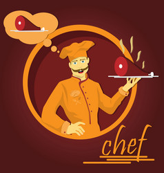 A chef holding a tray of grilled meat vector