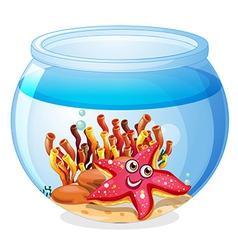 A starfish inside the aquarium vector