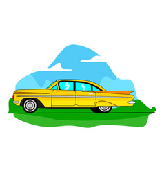 A yellow classic car on road vector