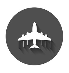 airplane icon flat plane with long shadow vector image