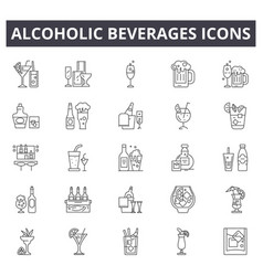 Alcoholic beverages line icons for web and mobile vector