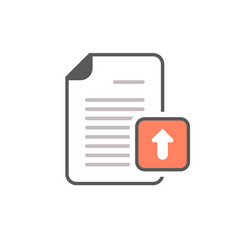 arrow document file page upload icon vector image