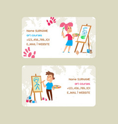 art courses school set business cards vector image