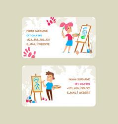 Art courses school set business cards vector