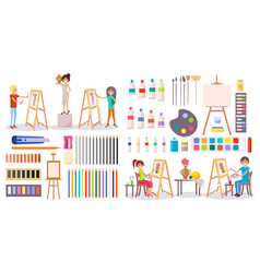 Artists at work and art supplies set vector