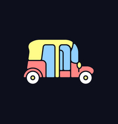 Auto rickshaw rgb color icon for dark theme vector