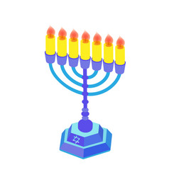 blue hanukkah with candles or menorah isometric vector image