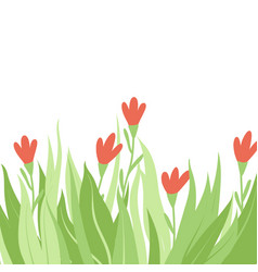Border red wild flowers with place for text vector