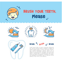 Brush your teeth childrens card child dental vector