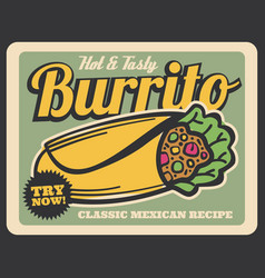 burrito mexican cuisine dish vector image