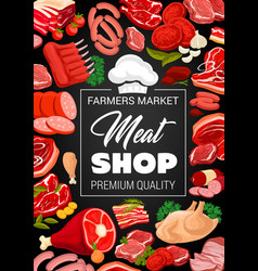 Butchery shop poster with raw meat and sausages vector