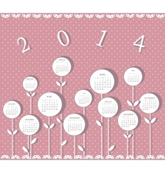 Calendar for 2014 year with flowers for girls vector image