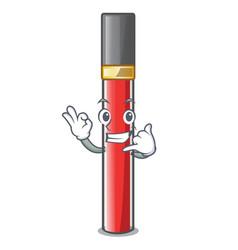 call me lip gloss above cartoon makeup table vector image