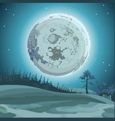 Cartoon background big moon at night over the vector