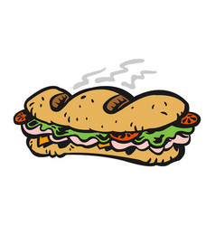Cartoon submarine sandwich lunch with bread meat vector