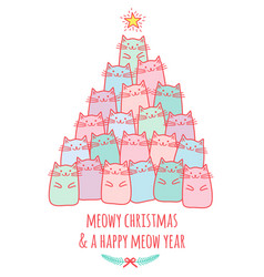 Christmas card with cute cat tree vector