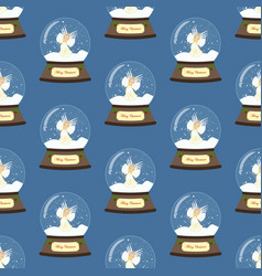 christmas snow globe with angel seamless pattern vector image