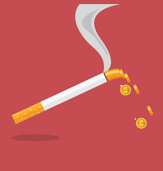 Cigarette with a smoke formed coin vector
