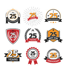 collection of retro twenty five anniversary logo vector image
