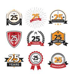 Collection retro twenty five anniversary logo vector