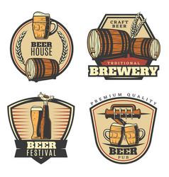 Colorful vintage brewing emblems set vector