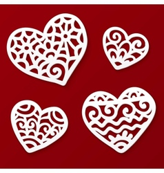 Cut out paper lacy hearts vector