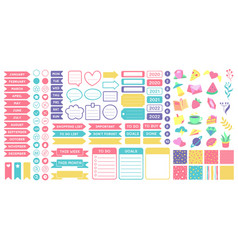 cute planner stickers organizer tags color vector image