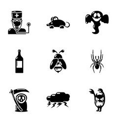 Deadly danger icons set simple style vector
