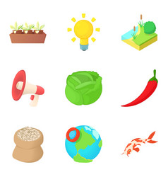 delivery of vegetable icons set cartoon style vector image