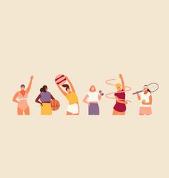 Different types women sport vector