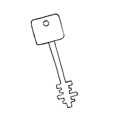doodle old key isolated object vector image