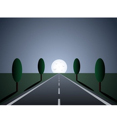 Empty road - moon light vector