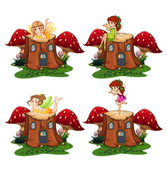 Fairy angel on the wood vector
