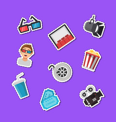 Flat cinema icons stickers set vector