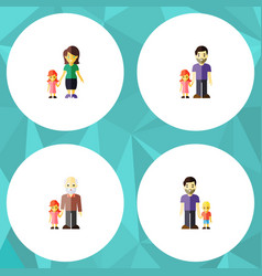 flat icon family set of grandpa father son vector image