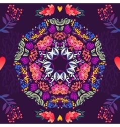 Flowers seamless round pattern decorative vector
