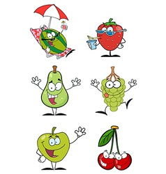 Funny Fruits Cartoon Character-Collection vector image